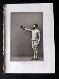 Badminton Library 1893 Antique Sword Fencing Print. First Position